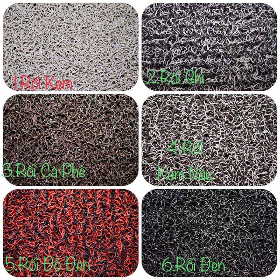 Thảm lót sàn 6D có lớp rối cao su nhiều màu sắc